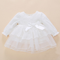 2017 Baby Girls High Quality Hollow Out Lace Dress Newborn Princess Long Sleeve White Color Party
