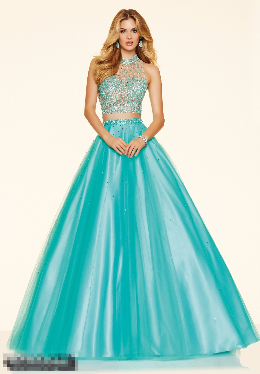 Coral Crop Top Two Pieces Quinceanera Dresses Long Sparkly Crystals ...