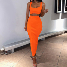 Women Dress Summer Hips Wrapped Party Sleeveless Crop Clubwear Fashion Two Piece Sets