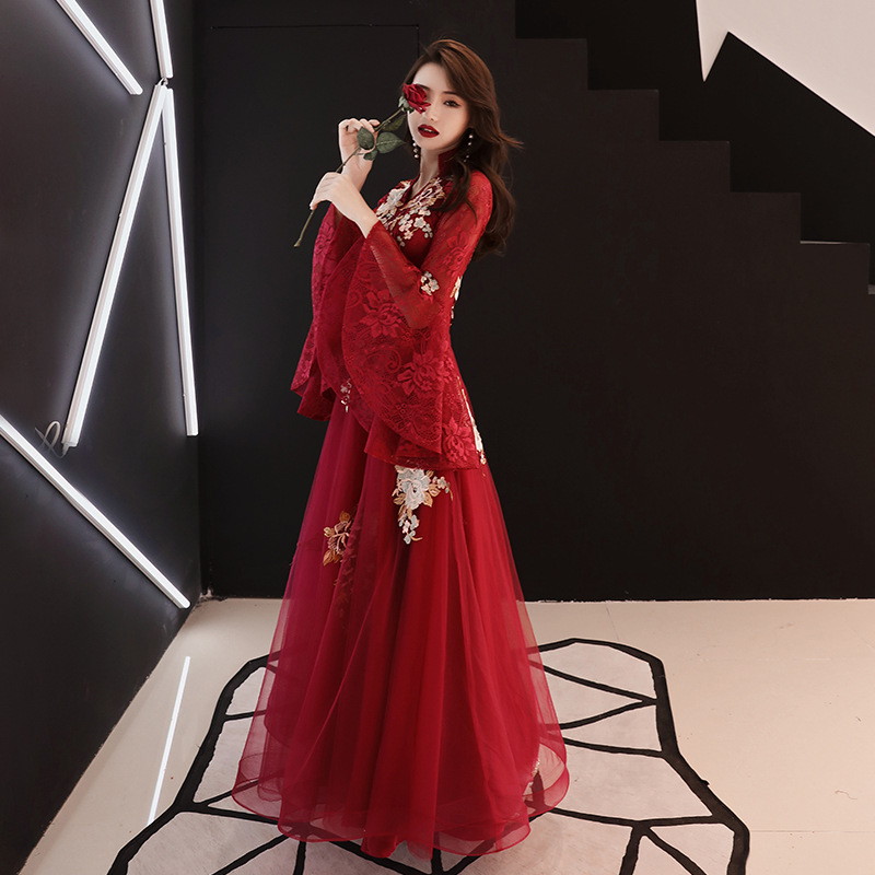 Oriental Bride Wedding Evening Party Dress Chinese Traditional Embroidery Female Cheongsam Lace Floor Length Qipao Mesh Gown