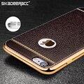 """Se26 chapado de metal de cuero de la pu de lujo cajas del teléfono para el iphone 5s 6 s 7 plus se teléfonos celulares a prueba de golpes de protección 4.7 """"5.5"""" Contraportada"""