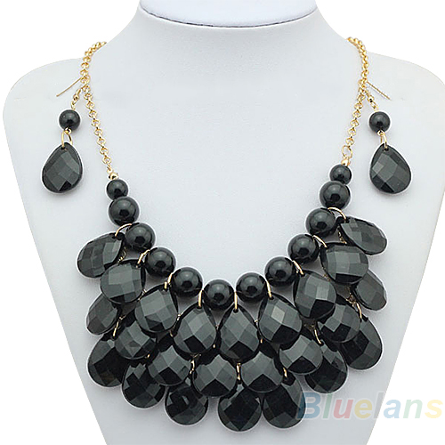 Women Female Fashion long Teardrop Resin Bubble Bib Statement Chain Power Neck Lace Necklace Earrings Sets A7WT