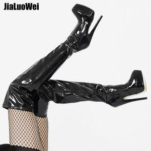 Image 1 - Jialuowei 여자 PU 가죽 섹시한 패션 무릎 부츠 섹시한 7 인치 울트라 하이힐 부츠 플랫폼 숙녀 부츠 size36 46