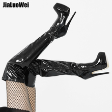 Jialuowei bayan PU deri seksi moda diz çizmeler üzerinde seksi 7 inç Ultra yüksek topuk çizmeler platformu bayan botları size36 46