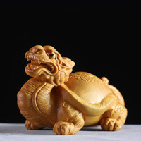 Exquisite wooden animal dragon turtle sculpture Chinese style boxwood Carvings Car ornaments Handmade antique decorations