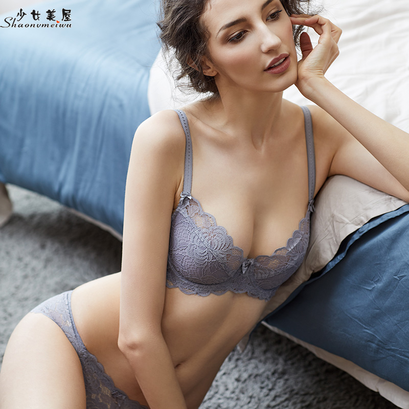 shaonvmeiwu The lace ultra thin model underwear   bra     set   is semi-transparent large size ladies   set     bra   sexy black