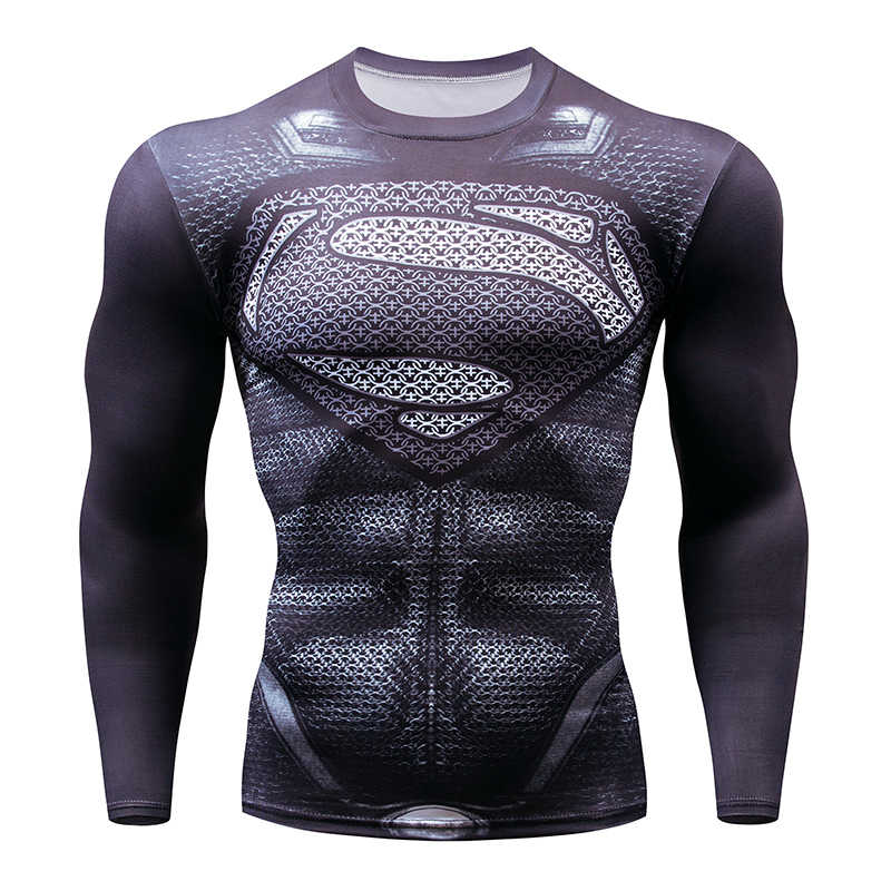 8a1386fdfbdf3 ... 2018 New Superman Fitness Compression Shirt Men's T-Shirt Breathable  Superman Bodybuilding Long Sleeve 3D ...