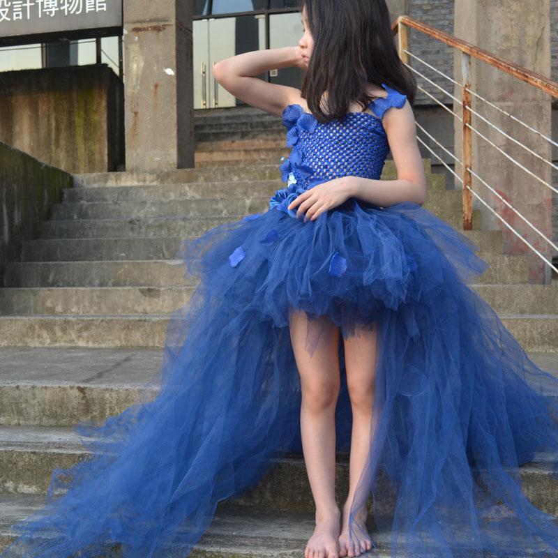 7c602d8f9 Super Fluffy Navy Blue Girl Tutu Dress with Long Train Tulle Flower Girl  Dress For Birthday Wedding Party Infant Kids Dress