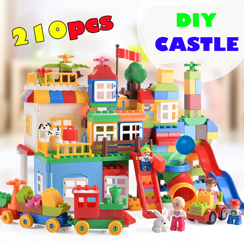 210pcs Big Building Blocks Creator Series City Amusement Park DIY Castle Assemblage Blocks Compatible Legoings Duplos Kids Toy