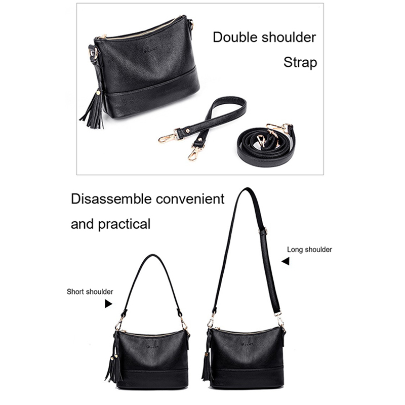 Image 4 - Women Minimalist Shoulder Bags High Quality PU Leather Solid Color Messenger Bag With Tassel Decoration Double Shoulder StrapShoulder Bags   -