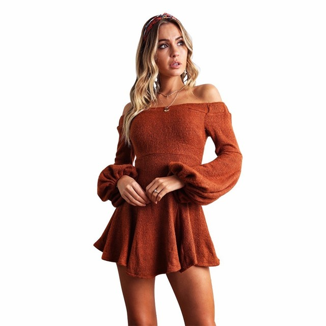 Veatidos Sexy Mini Dress Autumn Vintage 2018 Off Shoulder Puff Sleeve Solid Long Sleeve Party Dresses Women Casual Female Winter