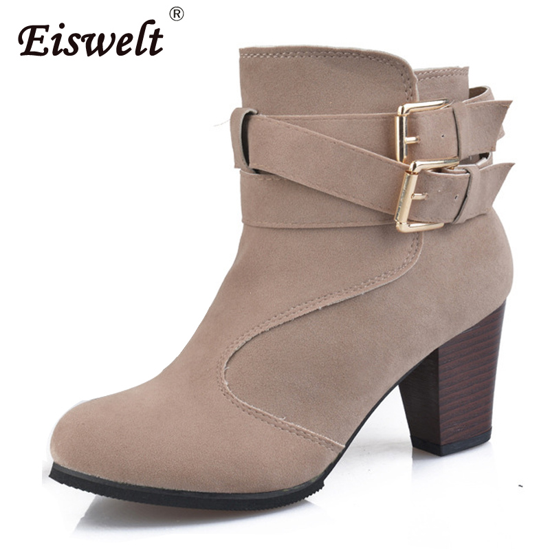 EISWELT Women Plus Size Autumn Ankle Boots Flock Buckle Boots Fashion High Heels Shoes Comforty Casual Women Boots#ZQS111 comforty 30l