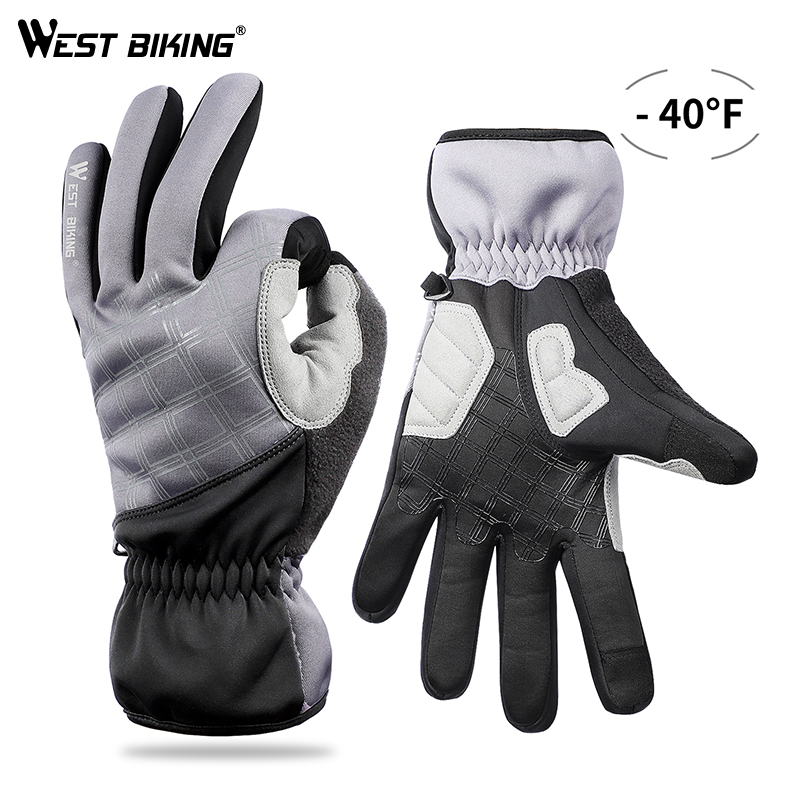 WEST BIKING Winter Thermal Gloves Cycling Skiing Full Finger Snowboard Gloves Outdoor Sports Waterproof Touch-screen Ski Gloves