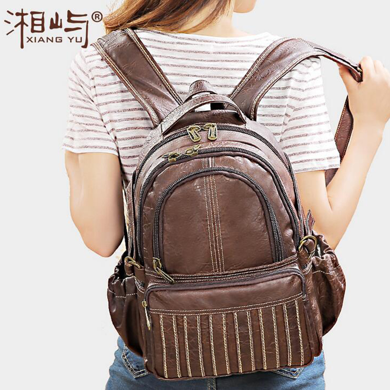 High Quality Vintage Large Capacity Women PVC Backpacks Leather Brand Casual Brown Trendy Waterproof Daypacks for