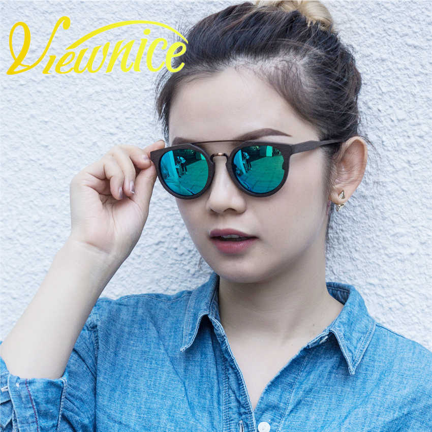2017 novo óculos de sol feminino moda do vintage polarizado 09 banda redonda óculos de vidro de madeira sol masculino pesca