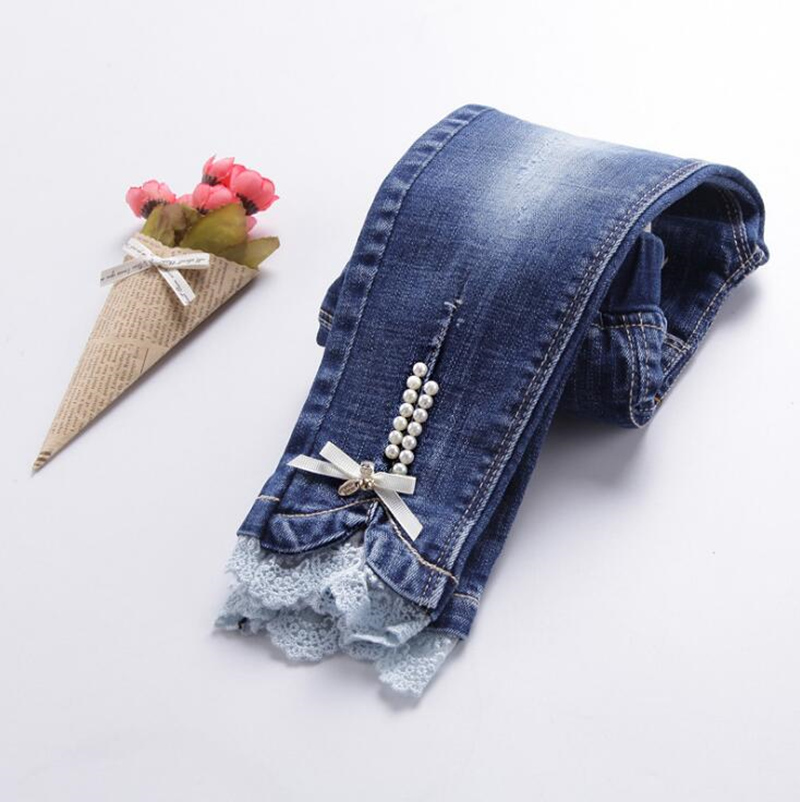 calças meninas roupas de algodão bomba denim requintado menina calças