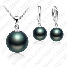 Top Quality Freshwater Black Pearl Jewelry Sets 925 Sterling