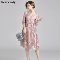Gentle Breeze Fairy Suspenders Pink Lace Embroidery Dress Vestidos Casuales Mujer 2018 Women Glitter Party Dress K9110