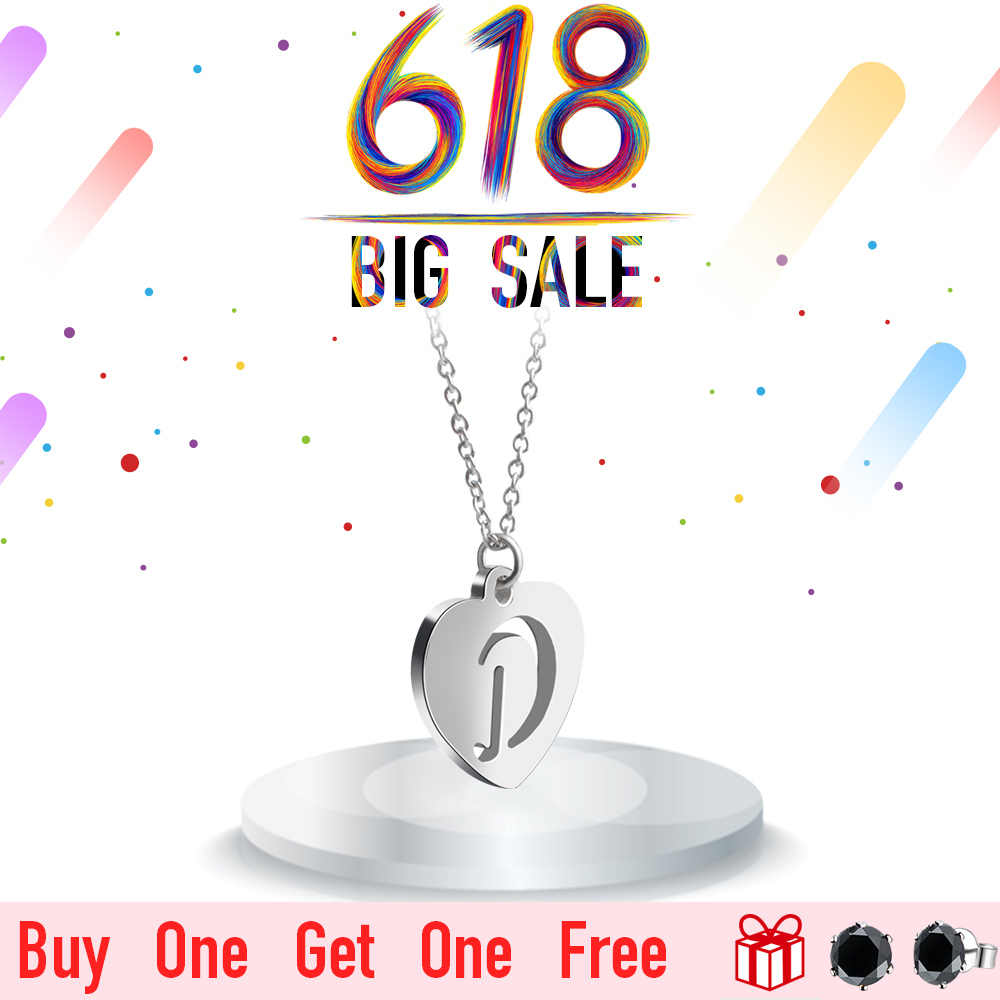 2018 New FINE4U N035 Heart Pendant Necklace Hollow Letter Alfabet Necklace 316L Stainless Steel Chain Necklaces For Women