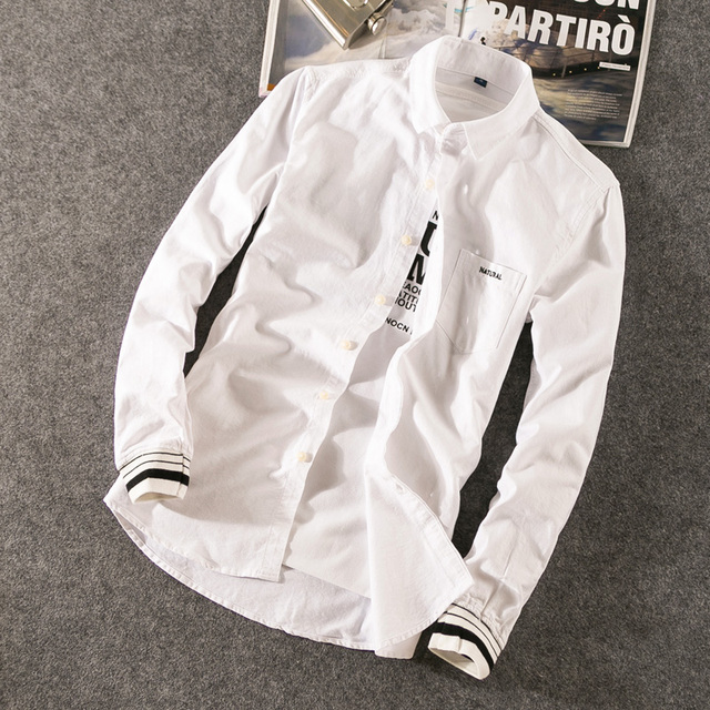 2017 New Casual Men Pockket Shirt Long Sleeve Collar Slim Fit Shirt Men Business Mens Shirts Korean Collage Style Men Clothes