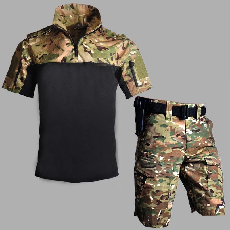Camouflage Short Sleeve Combat Uniform Set Army Fan CS Tactical Shirt Shorts Suits Summer Men Outdoor Training Military ClothesCamouflage Short Sleeve Combat Uniform Set Army Fan CS Tactical Shirt Shorts Suits Summer Men Outdoor Training Military Clothes