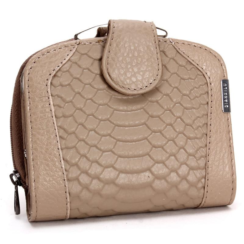 2017 New Women Wallets Genuine Leather Wallets Women Short Wallet Fashion Serpentine Card Holder Solid Lady Purse Wallet Female