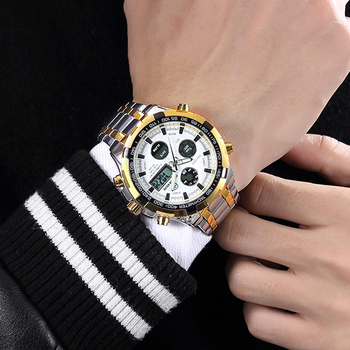GOLDEN HOUR Men's Luxury Dual Display Analog & Digital Waterproof Chronograph Date Quartz Watches 4