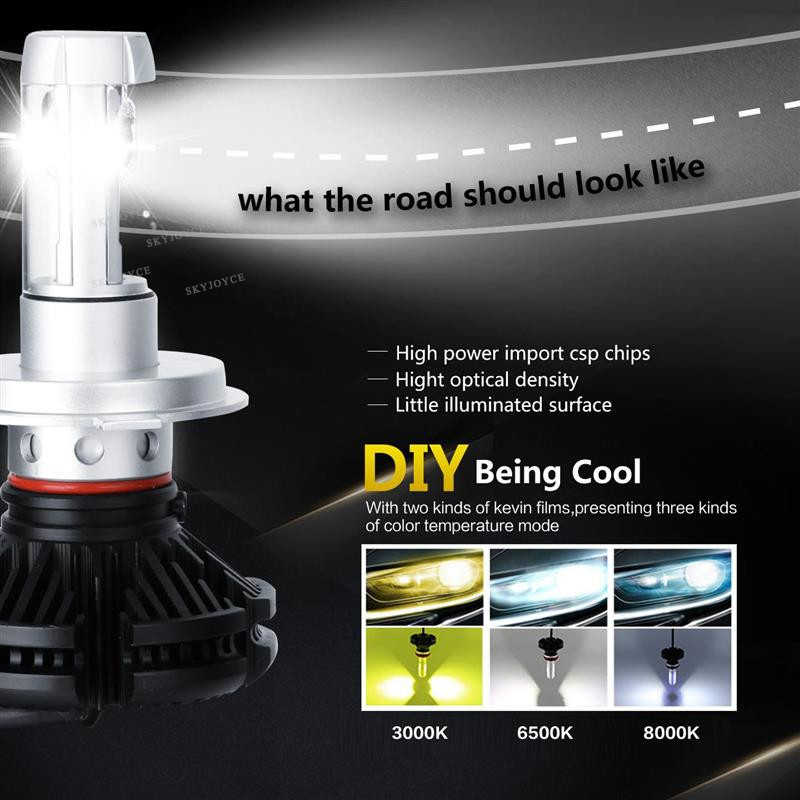 SKYJOYCE H4 Hi/lo Beam H7 X3 LED Headlight Kit Super Bright 50W 6000LM 3000K/6500K/8000K H1 H11 9005 9006 X3 Auto LED Headlight