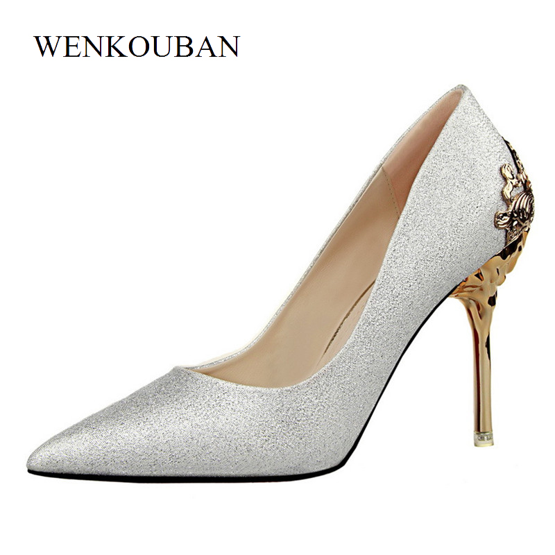 Sexy High Heels Crystal Shoes Women Pumps Slip On Ladies Wedding Shoes Stiletto Pointed Toe Thin Heels Shoes Zapatos Mujer taoffen ladies stiletto high heels peep toe shoes shoes women wedding lace sexy casual slip on platform pumps size 31 43 pa00382