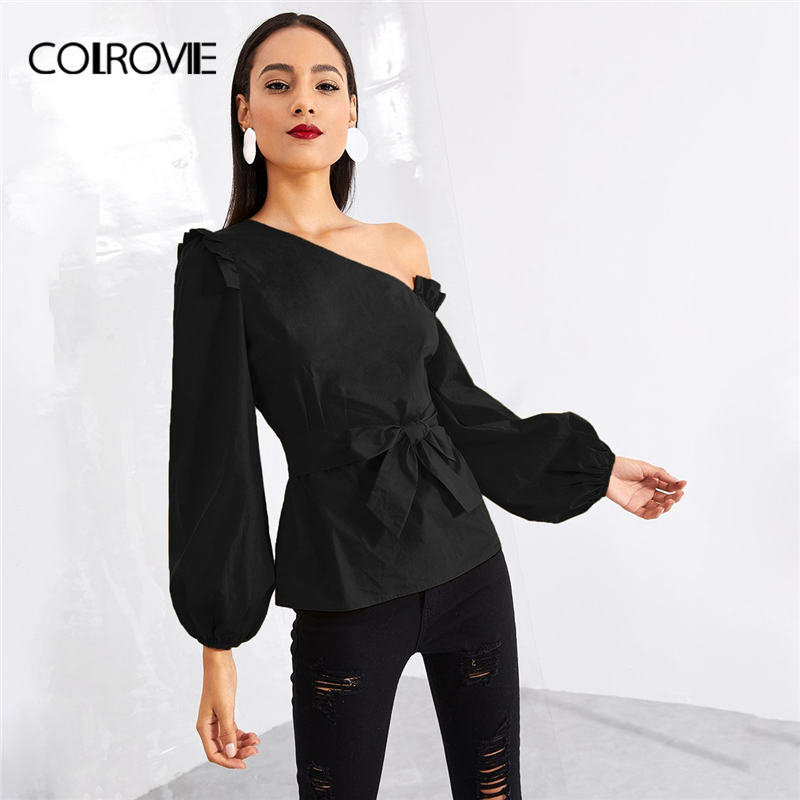 87c8639a36d6e COLROVIE Black Asymmetric Shoulder Bishop Sleeve Blouse Women 2018 Winter  Fashion Elegant Belted Tops Office Ruffle Shirts-in Blouses   Shirts from  Women s ...