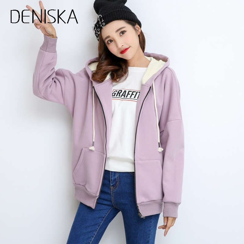DENISKA Casual Comfort Warm Sheep Velvet Liner Zipper Women Hooded Sweatshirt 2017 Autum ...