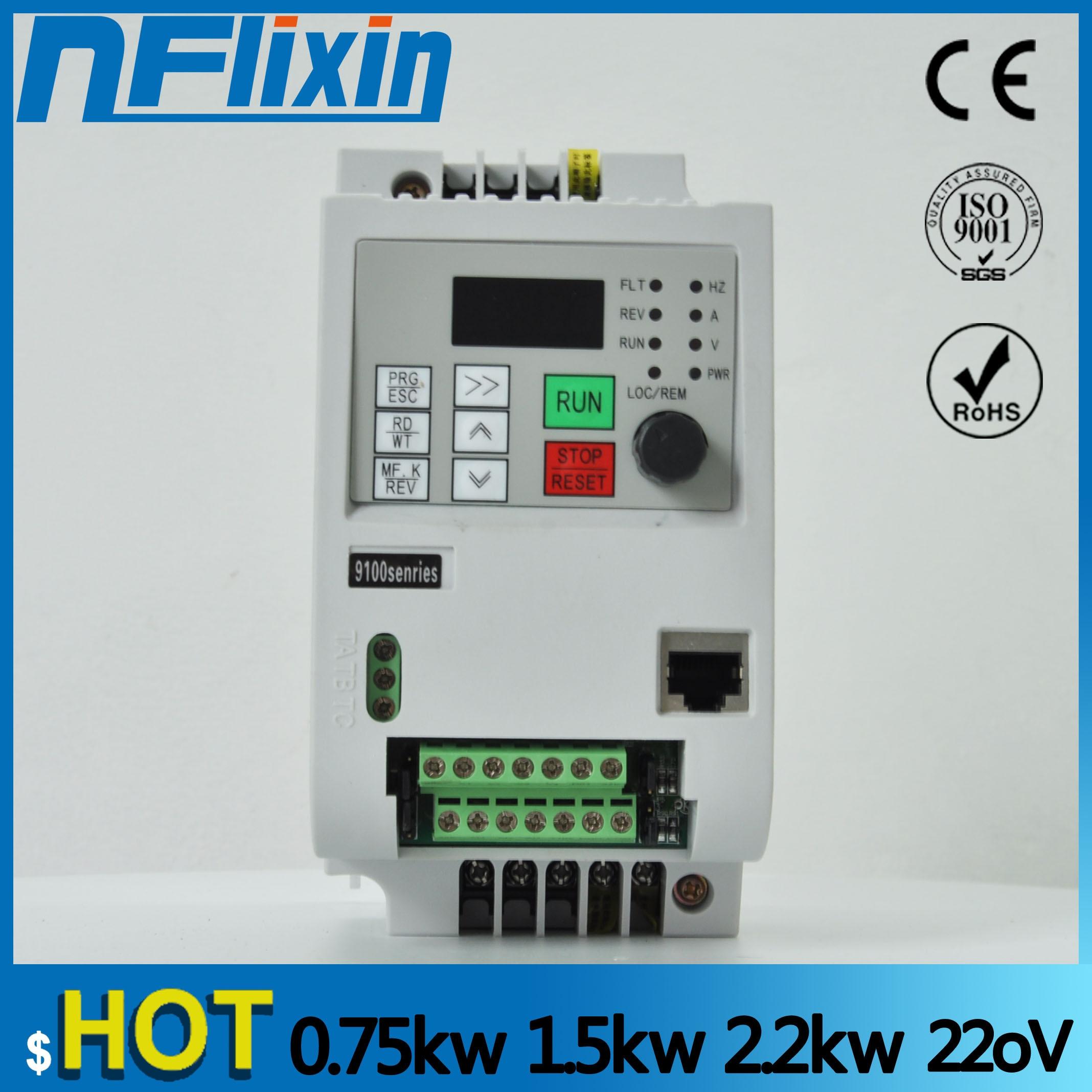 mini Frequency Converter 0.4kw 0.75kw 1.5kw 2.2kw 4kw 190V/220V Single Phase 380V 3 Phase Input VFD Frequency Inverter 190V/VFD