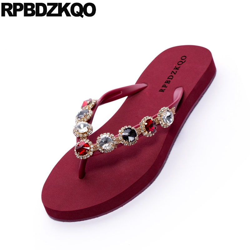 d583870d893708 ... Female Flip Slides Holiday Shoes Flat Jewel 2018 Women Crystal Flop  Casual Summer Black Red Diamond