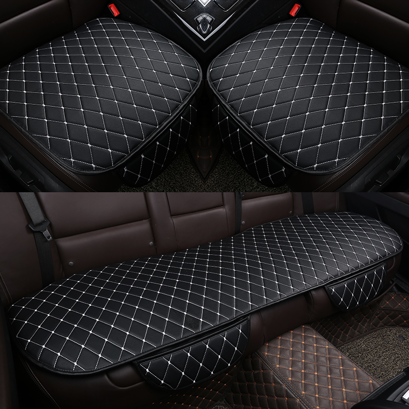 Universal Leather Car Seat Cover Cushion Front Rear Backseat Seat Cover Auto Chair Seat Protector Mat Pad Interior Accessories(China)