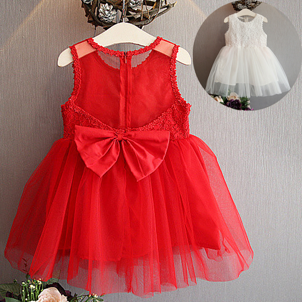 red girls summer dress sleeveless back see-through party dress for kids baby lace flower elegant dress children clothes