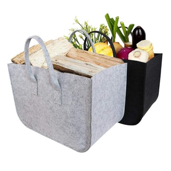 Large Firewood Basket,Storage Felt Shopping Basket Cloths Bag,Laundry Hamper Baskets with Handle for Carry Wood,Toys,Go Shopping 1