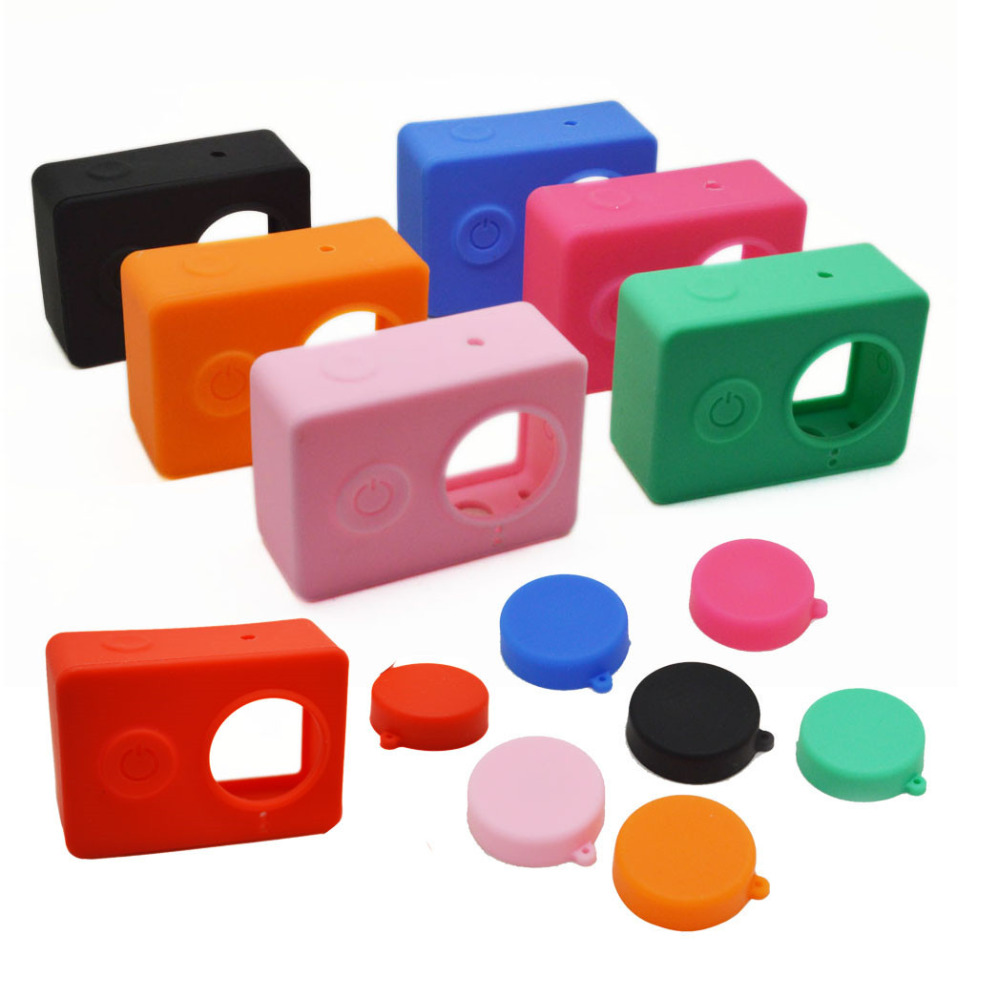5pcs Silicone Case and Cap for Xiaomi Action Cam 9 Colors Black Blue Green Red Orange Pink Rose Purple White