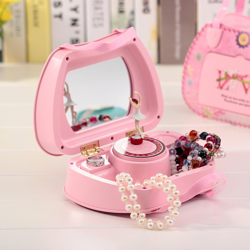 Portable rotating music box with mirror dancing princess for Gifts for home decor