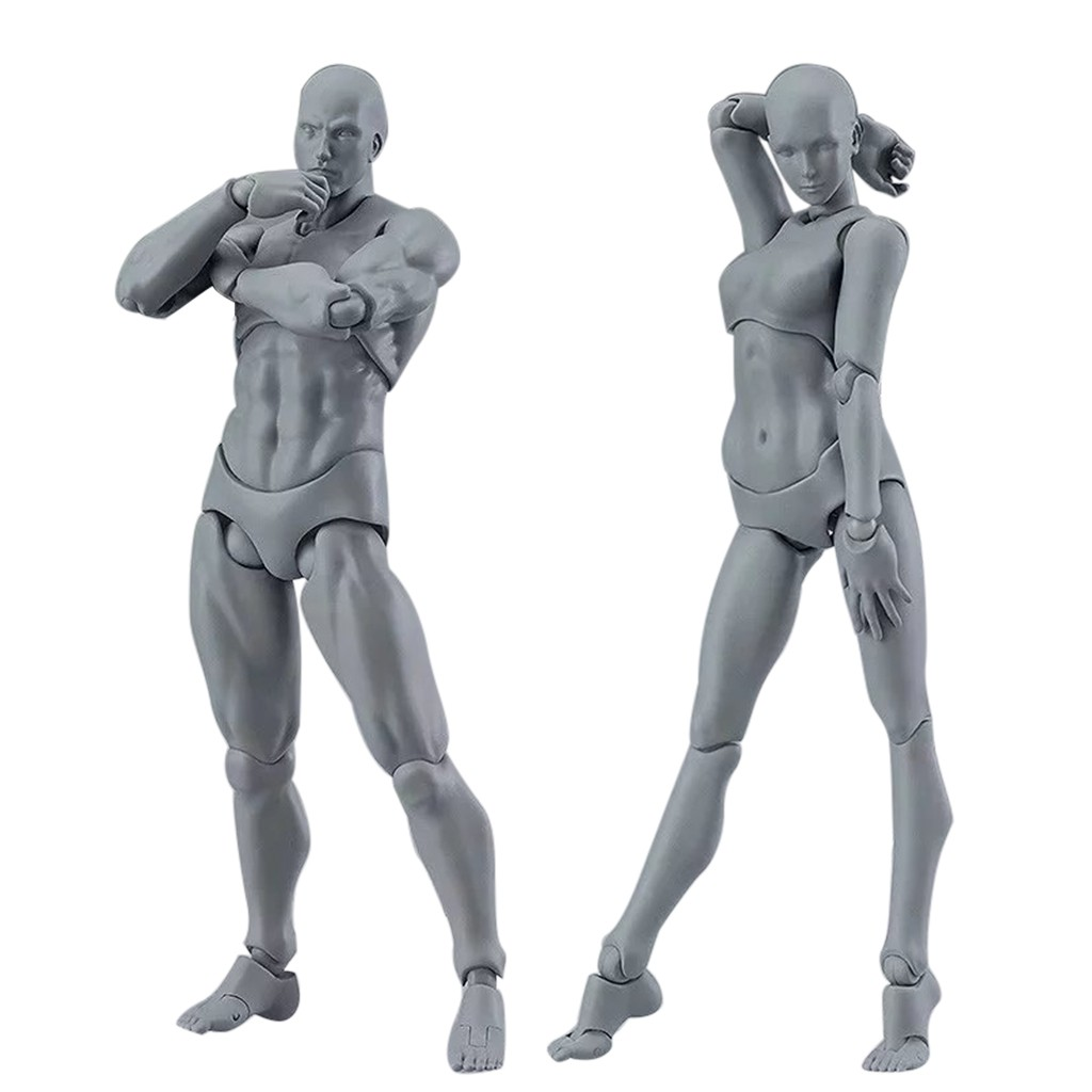13cm figura de acción juguetes artista móvil Masculino Femenino figura de articulación PVC figuras de cuerpo modelo maniquí bjd arte boceto dibujo figurita 3D Pelo de 60cm con cabeza de maniquí, peluquería, modelo de maniquí para mujer, cabeza de maniquí con pinza, peluca roja, pelo largo