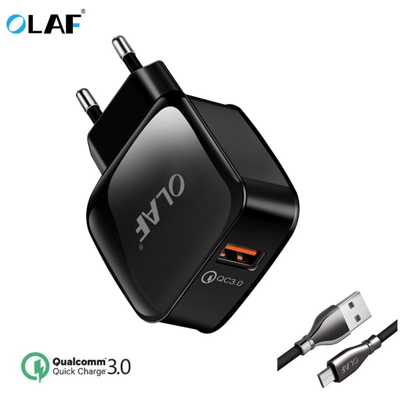 OLAF Quick Charger QC 3.0 18W USB Charger Adapter For iphone 7 ipad Samsung S8 Huawei Xiaomi Fast Charger QC3.0 Fit 2.0 EU Plug