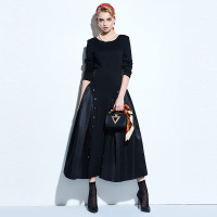 Clocolor Vintage Women Dresses 2017 Spring Black A Line Party Backless Pullover Dresses Long Sleeve Knee
