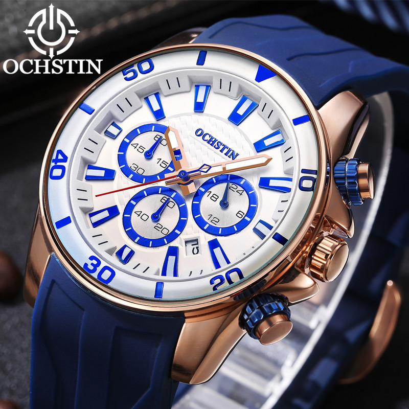 OCHSTIN Sports Watches Men Top Brand Auto Date Silicone Strap Quartz Military WristWatch Male Waterproof Luminous Relogio Saat