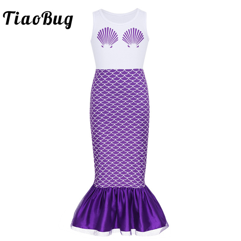 TiaoBug Kids Girls Sleeveless Shell Printed Mermaid Costume Long Dress Child Carnival Cosplay Party Dress Up Halloween Costume