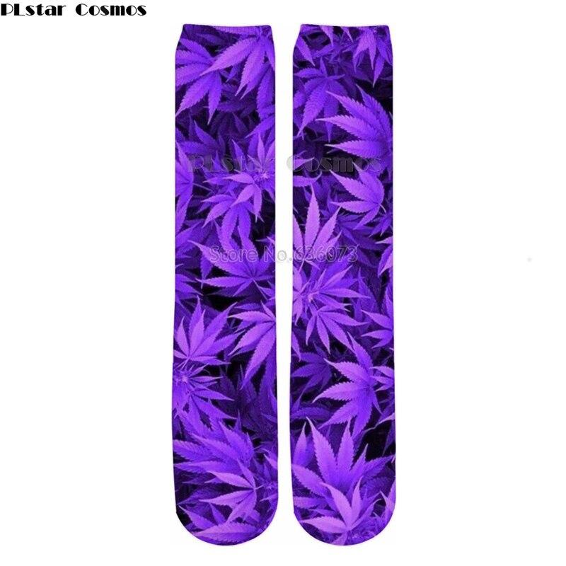 PLstar Cosmos Drop shipping 2018 New Fashion Mens 3d Socks Purple weed Printed Men/Women Casual Straight socks 1