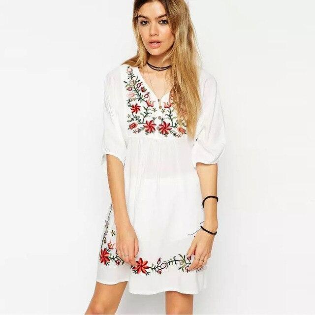 e41b5e247001 € 14.83 |Mani verano vestido 2016 del bordado V cuello media manga mujeres  del vestido ocasional vestidos blancos más el tamaño en Vestidos de Ropa de  ...