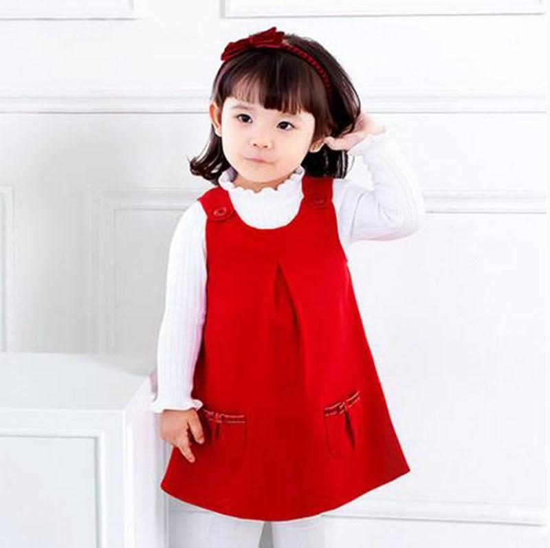 1pc Lucky Red Baby Girls Fashion Toddler Kids Spring Autumn Winter Jumper Sleeveless Vest Tank Dress Children Dresses Clothing