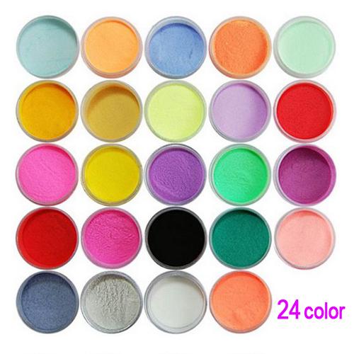 Mejor Venta Nueva Práctica Superior Durable 24 Colores Polvo de Acrílico Del Polvo de Uñas de Arte Decoración