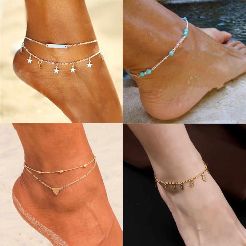 Женские браслеты на босую ногу сандалии, вязанные крючком бижутерия для ног новые лодыжки ножные браслеты для женщин цепочка в богемном стиле на ноге