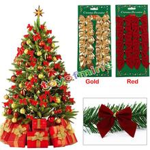 12pcs Christmas Bow Tree Hanging Decoration Baubles Merry Xmas New Year Party Suppliers Home Garden Bowknot