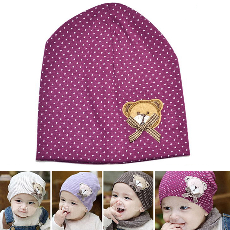 1 pcs Fashion Winter Autumn Crochet Cute Bear & Bow Baby Hats Beanie Polka Dot Hat Girl Boy Cotton Cap Children Beanies new fashion autumn winter girl dress polka dot